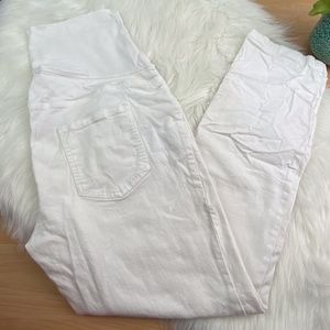 Great Expectations Maternity White Ankle Jeans